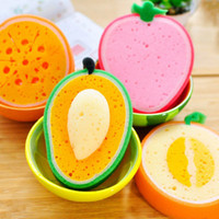 Wholesale Home Furniture Glass - Cute Fruit Shape Microfiber Sponge Scouring Pad Cleaning Cloth Strong Remove Stains Thickened Sponge Kitchen Tools