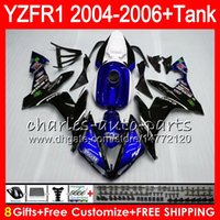ingrosso kit corporeo yamaha r1-8Gift 23Color Body Per YAMAHA YZF1000 YZFR1 04 05 06 YZF-R1000 blu nero 58HM11 YZF R 1 YZF 1000 YZF-R1 YZF R1 2004 2005 2006 Kit carenatura