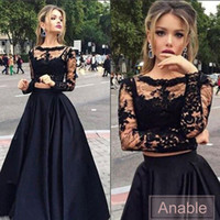 Wholesale Black Elastic Woven Dresses - 2016 Black Scoop Neck Tulle Elastic Woven Satin Appliques A-line Floor-length Custom Made Lace Long Sleeve Two Piece Prom Dresses