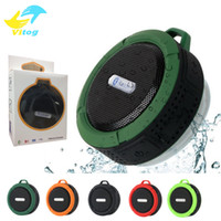 Wholesale Suction Bluetooth Speaker - C6 Speaker Bluetooth Speaker Wireless Potable Audio Player Waterproof Speaker Hook And Suction Cup Stereo Music Player With Retail Package
