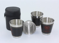 Wholesale Travel Mug Sale - 5set lot new 4 Pcs 70ml Cups Set 304 Stainless Steel Cups Wine Beer Whiskey Mugs Outdoor Travel Cup Special sale Z1123