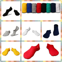 Wholesale Mens Slippers Wholesale - Spring Summer Autumn Cotton Men's Socks 6 Colors Black Gray White Navy Yellow Red Non-Slip Boy Sock Slippers Ankle Knitted Solid Mens Socks