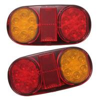 luces traseras de camión al por mayor-2x 12V LED Tail Rear Stop Indicator Lights Camión Remolque Camión Volquete W No / Plate