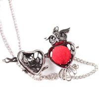 Wholesale Owls For Necklaces - 10Pcs Owl Shape Pendant Aromatherapy   Essential Oils Silver Plated Perfume Diffuser Lockets Necklace For Women Jewelry