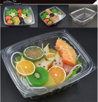 Wholesale Plastic Lunchboxes - 0 56zq1 12Ounces 330ml Disposable Lunch Box Transparent Plastic Salad Meal Case Vegetables Lunchboxes Pack Box With Cover Hot R