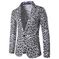 yeni tasarım erkek blazer toptan satış-Toptan-Seksi Leopar Erkek Blazer Yeni Tasarım 2016 Sonbahar Sıcak Satış Moda Erkek Takım Elbise Ceket Tek Göğüslü Slim fit erkek Giysileri 16X963