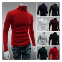 Wholesale Sweater For Man High Neck - Sweaters for Men Autumn&winter Fashion Pure Color High Collar Lapel Men's Simple Slim Fit Bottoming Sweaters US Size:XS-L