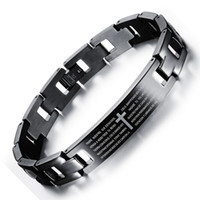Wholesale Cross Rings For Sale - hot sale stainless steel jewelry fashion engraved Spainish biblical Lord pray cross anti rust titanium steel chain bracelets for men