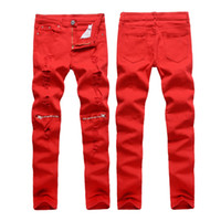 Wholesale Plus Size Nights - Wholesale- Men Hole Jeans Special Red Biker Fashion Zipper Design Pencil Pants Ripped Denim Jeans Night Club Casual Slim Skinny
