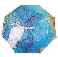 Wholesale Three Elephants Umbrellas - The Three Elephants Folding Parasols Rain Umbrella World Map Oil Painting Umbrella Red Green For Sale Women Umbrellas YP0304075
