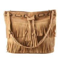 Vente en gros- Femmes Popular Faux Suede Fringe Tassel Shoulder Bag Sacs à main Messenger Bag 2016 Hot Sale