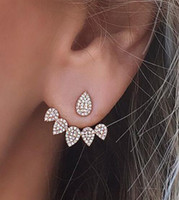 Wholesale Earrings Ear Piercing For Women - Fashion Water Drop Stud Earrings Rhinestone Front Back Paw Double Sided Stud Earrings For Women Ear Jacket Piercing Earings