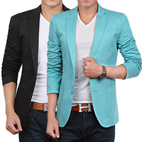 Wholesale Cheap Men S Blazer Jackets - Wholesale- Beige Blue Red Black Khaki Cheap Men Suit Mens Casual Blazers Korean Suit Jacket Men Slim Fit Blazer 2014 Autumn S-XXXXL D2257