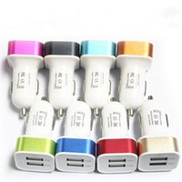 Wholesale Nipple Adapter - Colorful Mini Car Charger 2 ports Cigarette Dual Port 2.1A Micro auto power Adapter Nipple Dual USB for Phone 6s plus samsung s7