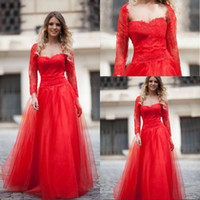 Wholesale Low Priced Women Jackets - Best Sale A Line Strapless Floor Length Red Tulle Lace Top Prom Dresses With Long Sleeve Jacket Lace Up Low Price Evening Women Dresses