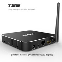 Wholesale Internet For Tv - S905X Android TV Boxes Fully Load WiFi TV Box Android 6.0 T95 Metal Case Internet Media Boxes for TV