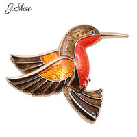 Wholesale Small Bird Charms - Wholesale- Enamel Brooch Fashion Zinc Alloy Epoxy Small Birds Charm Women Brooches Broches Mujer Wedding Decoration Wholesale Clothing Pin