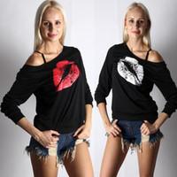 Wholesale oversized womens shirts - Womens Off One Shoulder Lips Sweatshirt Sweater Jumper T-Shirt Tops Blouse Lips Off Shoulder Oversized Pullover Sweater Top Blouses Jumper
