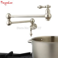 """Wholesale Rub Valves - Wholesale- Bagnolux High Quality Wall Mounted Dual Shut Off Valve Pot Filler Faucet with 22"""" Double-Jointed Swinging Spout Lever Handles"""