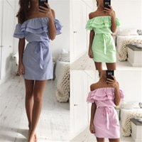 Wholesale Womens Dresses Wholesalers - Fashion Womens Summer Boho Mini Dress Ladies Strapless Beach Party Shirt Dresses Casual Dresses Womens Clothing Off Shoulder Dress With Belt