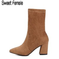 Hot venda Feminino 927 Ladies Stretch Fabric Boots Mulheres Square High Heel Short Boots T Taiwan curto plush Velvet Boots Tamanho 35-39