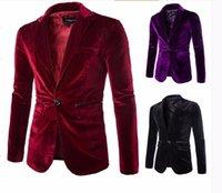 Wholesale Moda Mens - Mens Borgogna Velvet Blazer Traje Hombre Viola Nero di Velluto A Coste Abiti Giacca Per Gli Uomini Moda Casual One Button Coat M-XXL