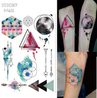 Wholesale Body Paint Designs - W08 Watercolor Geometric Magic Tattoo with Triangle, Square, Semicolon,Lock Design Body Paint Waterproof Tattoos