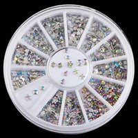 Wholesale 3d Nails Designs Bows - Wholesale- 6 Design Shiny AB Acrylic Bow Water Droplets Nail Art Decorations Tips 3D Charms Nails DIY Glitter Wheel Manicure ZP025