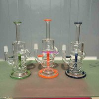 Wholesale Dome 5mm - glass bong 10 inches water pipe 5mm thickness oil rig,recycler bong good function.14mm joint giving dome and nail