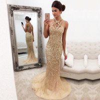 Wholesale Halter Mermaid Dress Bling - Sexy Bling Sparkly Sequined Gold Mermaid Prom Dresses 2017 Sleeveless Open Back Long Tulle Evening Dresses 2018 Cheap Formal Party Wear