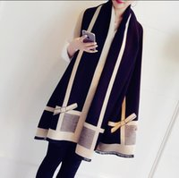 Wholesale Cashmere Scarves Match - South Korean imitation cashmere scarf in the fall and winter of female color matching bow super double-sided shawls and collar