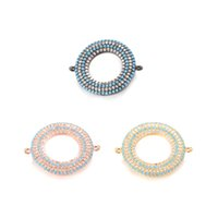 Wholesale double connector charms - 3 Color ECO-Friendly Round Shape Micro Pave Charm Unique Double Hole Design Connector, ICSP028, Size 26.9*22.2 mm