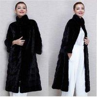 Wholesale Women S Faux Mink Coat - New Winter Womens Outwear Long Sleeve Faux Mink Fur Coat Long Overcoat Black Women Jacket Plus Size S-4XL Costumize