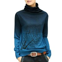 Wholesale Knitting Sweater Design Patterns - Wholesale-2016 women cashmere sweater turtleneck branch pattern Gradient Color design pullover sweater plus size S-XXXL YZE321