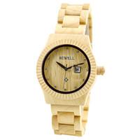 kuvars saat online toptan satış-2017 Ahşap Akçaağaç Ahşap Saatler Kadınlar için Kuvars İzle Deri Kayış Mens Saatler online izle