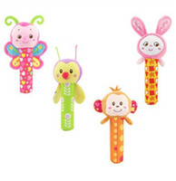 Wholesale Grip Rattle - DHL 4 Styles Baby Hand Grip Rod Toys Educational Toys Rattle Animal BB Stick Hand Bell Toy For 0-3 years old baby JC99