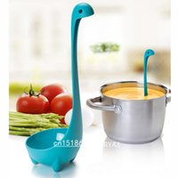 Wholesale disposable plastic spoons - Wholesale- Creative Nessie Dinosaur Soup Spoon Long Handle Lovely Monster Porridge Spoons Dinnerware Cooking Tools Kitchen Accessories