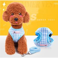 Wholesale Cute Dog Harness Leash - Cute Grid Pet Puppy Dog Harness Leash Set Walking Dog Vest Pink Blue For Small Dogs Chihuahua Yorkie S M L