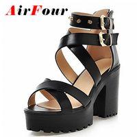Wholesale Woman Flat Sandals Size 43 - Wholesale- Airfour Big Size 34-43 Women Gladiator Sandals Square High Heels Rivets Summer Shoes Open Toe Thick Platform Sandals Women Shoes