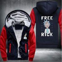 Wholesale Cardigans Fast Shipping - 2017 Wholesale New Rick and Morty Hoodie Logo Winter JiaRong Fleece Mens Sweatshirts Free Shipping USA Size fast ship