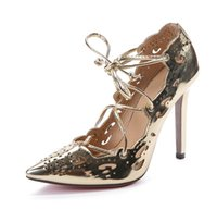 Wholesale sexy lace up pvc dress - 2017 new sexy Gold Impera Laser cut Pointed Toe Women Pumps Thin High Heels Lace up Cut out lady Party Shoes Sapato Femmes Black White Pink