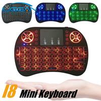 şarj edilebilir klavyeler toptan satış-I8 mini klavye 2.4g el touchpad şarj edilebilir lityum pil kablosuz fly air fare uzaktan kumanda 3 renk aydınlatmalı 7 renk aydınlatmalı