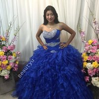 cascade news - Royal Blue Ruffles Organza Crystal Quinceanera Dresses Plus Size News Prom Ball Gowns Princess Sweetheart Lace up Sweet Years