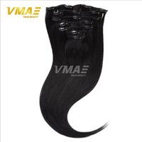 Wholesale Double Drawn Hair Extensions Brown - Clip In Hair Double Drawn 120g 7Pcs With 16 Clips Human Hair Extensions Straight Natural Colour 8A Human Virgin Hair Extensions