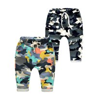 Wholesale Camouflage Pants For Kids - Kids cotton Camo Harem pants 2 colors Boys girls fashion camouflage patern casural pocketed trousers kids casual clothing for 2-7T
