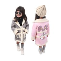 Wholesale cute winter coats for girls - cute girl suede coat cartoon rabbit style thick Winter leather coat jacket for 2-8yrs girls kids children warm outerwear clothes
