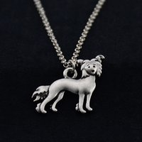 Wholesale men chinese necklace - New Fashion Vintage Silver Chinese Crested Dog Charms Pendant Necklace Animal Pet Long Chain Necklace For Women Men Jewelry Unique Gifts