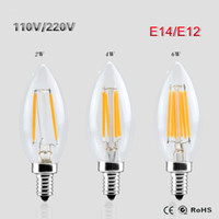 Wholesale Square Chandelier Crystals - E14 E12 Led Light 110V   220V 2W 4W 6W Led Filament Bulb Candle Light Lamp Lampada Led Retro Edison Glass Crystal Chandeliers