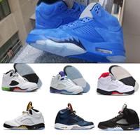 Wholesale Blue Fire Design - air retro 5 basketball shoes wholesale 2017 new design Fire & Ice man sneaker sport shoes Red Blue Suede Low Neymar OG Black Metallic