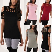 T-shirt da donna a manica corta da donna Fashion Red Pink Black Hollow Out Slim primavera estate casual T-shirt calde